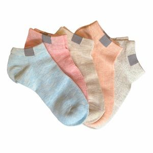 5 Pairs Pastel Ankle Socks Size Small